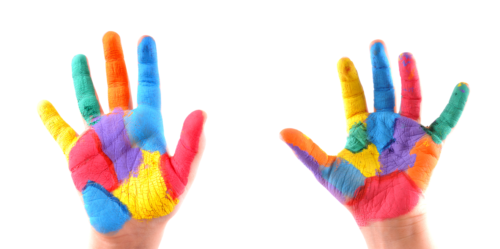2 colorful hands