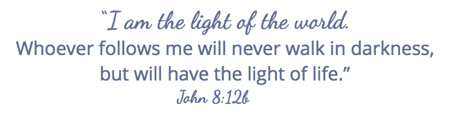 when holidays aren't happy, Jesus is our light. John 8-12b