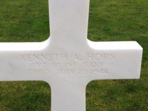 Ken Horn's cross at Normandy